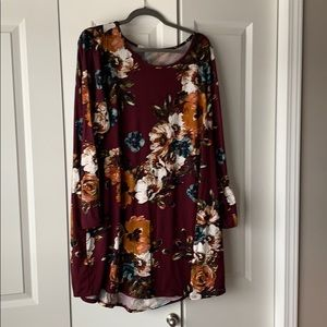 Floral dress with burgundy background